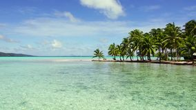 Tropisch strand met palmen en sunbeds