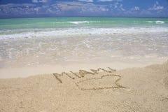 Tropisch strand in Miami Stock Afbeeldingen