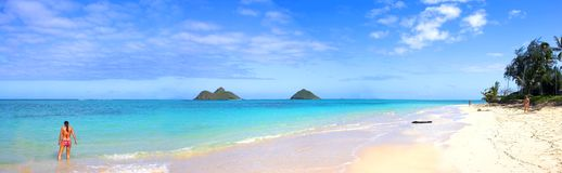 Tropisch strand in Oahu Stock Afbeeldingen