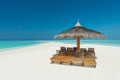 Tropisch strand op de Maldiven Royalty-vrije Stock Afbeelding