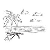 Tropisch, Strand, Skizze, Clipart Stockbild