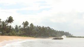 Tropisch strand, Sri Lanka stock videobeelden