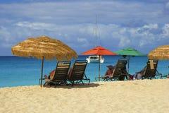 Tropisch strand in St Caraïbische Maarten, Stock Afbeelding