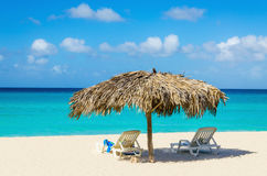 Tropisch strand, sunbeds en palmparaplu's stock foto's
