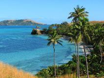 Tropisch strand in Yasawa Eilanden, Fiji Royalty-vrije Stock Afbeelding