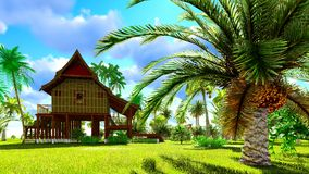 Tropisch strandhuis in het 3d teruggeven van keerkringen Stock Foto