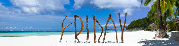 Tropisch strandpanorama royalty-vrije stock foto's