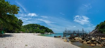 Tropisch Strandpanorama - dan Sadet Koh Phangan royalty-vrije stock afbeelding