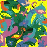 Tropisch Vogels en Bloemenpatroon vector illustratie
