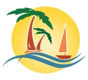 Tropisch zeegezicht met palmen Stock Afbeelding