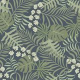 Tropische achtergrond met palmbladen Naadloos BloemenPatroon Royalty-vrije Stock Foto