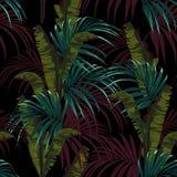 Tropische achtergrond met wildernisinstallaties Naadloos vector tropisch patroon met blauwe palmbladen en groene bananenbladeren vector illustratie