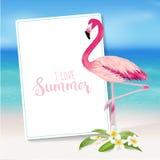 Tropische achtergrond Tropische Bloem en Flamingovogel Royalty-vrije Stock Foto's