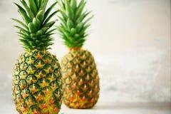 Tropische ananassen op grijze achtergrond De zomer, vakantieconcept Ruw, veganist, vegetarisch, schoon het eten dieet Sluit omhoo royalty-vrije stock foto's