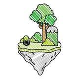 Tropische Büsche und Baum des Gekritzels in der Flossinsel vektor abbildung