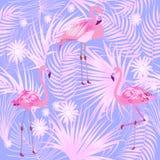 Tropische bladeren en flamingo naadloos patroon, vector Stock Foto's