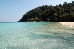 Tropische blauwe overzees met palmen en zand Royalty-vrije Stock Foto