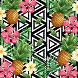 Tropische bloem en ananas met abstract achtergrond bureaucomputer geïsoleerd pictogram stock illustratie