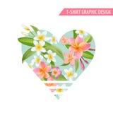 Tropische bloemen en bladeren Exotische Grafische Achtergrond Stock Afbeeldingen