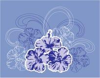Tropische bloemen en golven. Stock Afbeelding