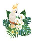 Tropische bloemen en kaketoe Vector illustratie royalty-vrije illustratie