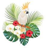 Tropische bloemen en kaketoe Vector illustratie vector illustratie