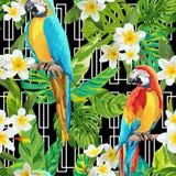Tropische Bloemen en Vogels Geometrische Achtergrond - Uitstekend Naadloos Patroon royalty-vrije illustratie