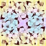 Tropische Bloemen Grafische arts. Decoratieve samenstelling - bloemen op een waterverfachtergrond Gebruik gedrukte materialen, te stock illustratie