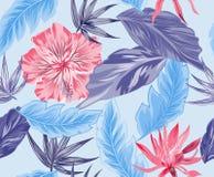 Tropische bloemen, wildernisbladeren, paradijsvogel bloem vector illustratie