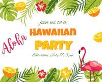 Tropische Bloemenaffiche met flamingo - voor Uitnodiging, Huwelijk, Partij Stock Foto's