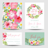 Tropische Blumen - für die Heirat, Einladung Stockbilder