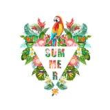 Tropische Blumen und Papageien-Vogel-Hintergrund Palmen mit dem Meer und dem hölzernen Brett T-Shirt Mode-Grafik exotisch lizenzfreie abbildung