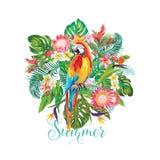 Tropische Blumen und Papageien-Vogel-Hintergrund Palmen mit dem Meer und dem hölzernen Brett T-Shirt Mode-Grafik exotisch stock abbildung
