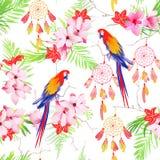Tropische bospapegaaien en dreamcatchers naadloze vectordruk stock illustratie