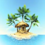 Tropische bungalow op tropisch eiland royalty-vrije illustratie