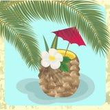 Tropische cocktail onder palmen Stock Fotografie
