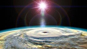 Tropische cycloon, mening van ruimte, 3D animatie stock illustratie