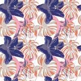 Tropische druk Het Naadloze Patroon van de wildernis Vector Tropisch de Zomermotief met Hawaiiaanse Bloemen Royalty-vrije Stock Foto's