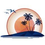 Tropische eiland en zon Stock Afbeelding