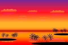Tropische eilanden bij zonsondergang royalty-vrije illustratie