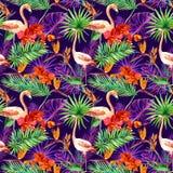 Tropische exotische bladeren, orchideebloemen, neonlicht Naadloos patroon watercolor Stock Afbeelding