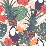 Tropische exotische bloemen, ananas en toekannen naadloze achtergrond Stock Fotografie