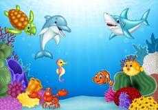 Tropische Fische der Karikatur mit schöner Unterwasserwelt Lizenzfreies Stockfoto