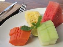 Tropische Früchte sortiert, Erholungsortfrühstück Stockbild