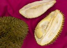 Tropische Frucht Durian auf rotem Hintergrund Ganzes und Schnitt flache Lage Durian Geschmackvolle Frucht mit Geruch Exotische Fr lizenzfreie stockfotografie