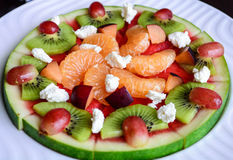 Tropische Frucht-Wassermelonen-Pizza Stockfotos