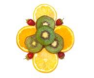 Tropische fruit en aardbei Royalty-vrije Stock Foto's