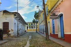 Tropische gebouwen in Trinidad, Cuba stock foto's