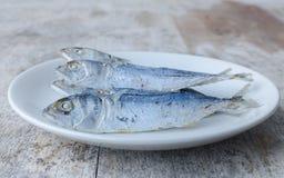 Tropische gebratene Fische auf einem weißen Teller Lizenzfreies Stockfoto