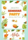 Tropische Hawaiiaanse Affiche met pelikaan Partijmalplaatje Uitnodiging, banner, kaart Stock Foto